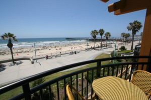 The view from a hotel balcony in Pacific Beach, California.