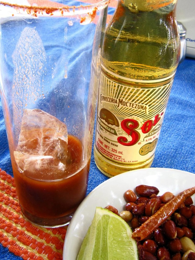 A michelada in the making.