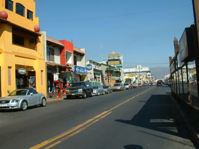 Street in Ensenada - Hussongs in the background.