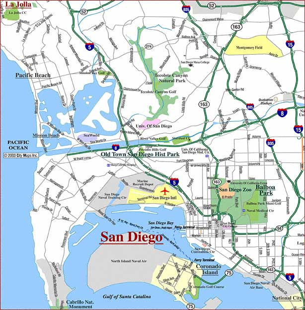 Map of San Diego. Balboa Park is the large green area in the middle of the city