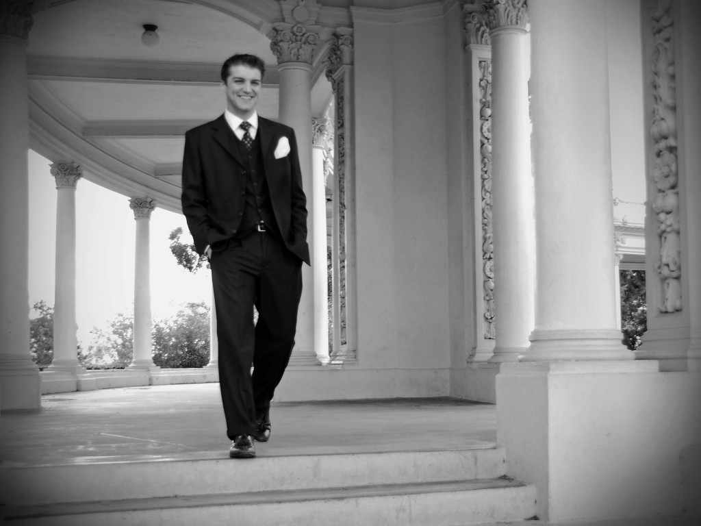 Waiting to get married, Mark walks through the Spreckles Organ Pavilion.