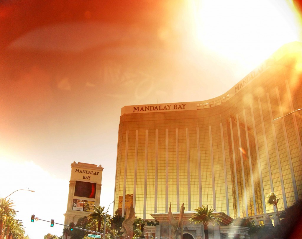 The afternoon sun glowing in a vintage light over Mandalay Bay Casino.