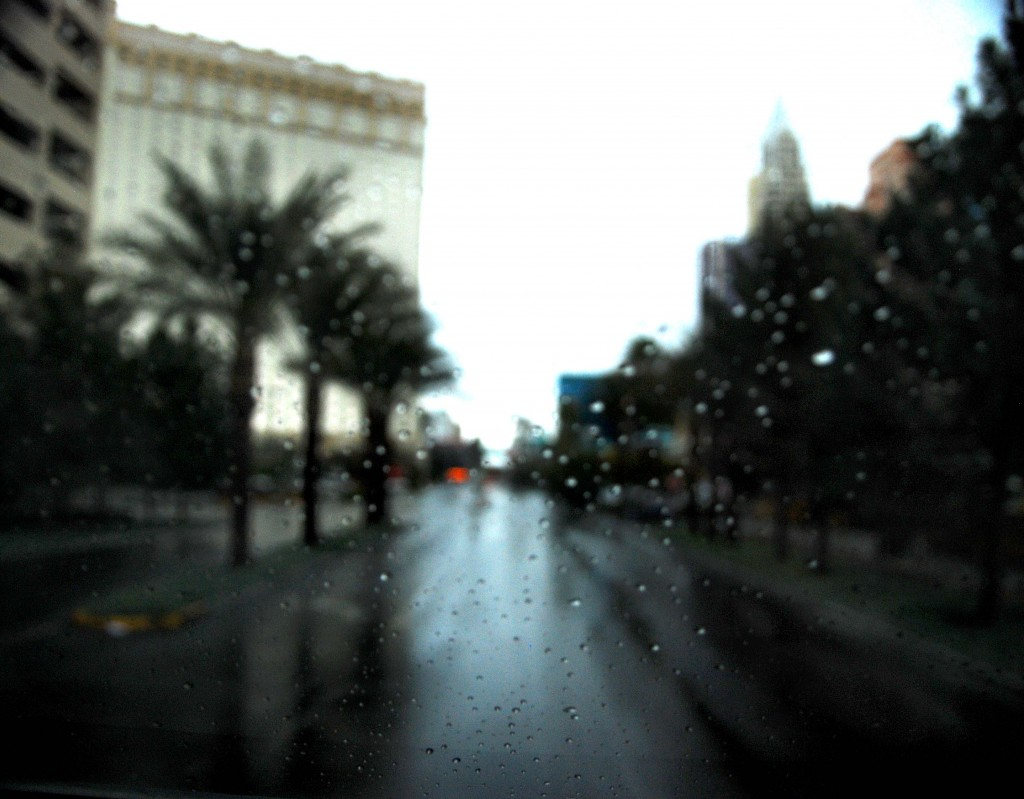 Rainy Day Las Vegas Strip under a big grey sky.