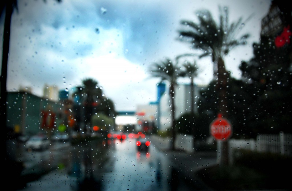 Rainy street on Las Vegas Strip.