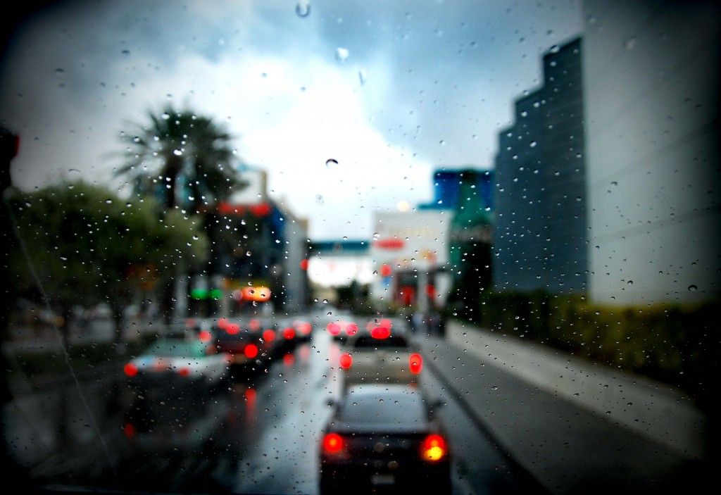Rainy traffic on the Las Vegas Strip in Nevada.