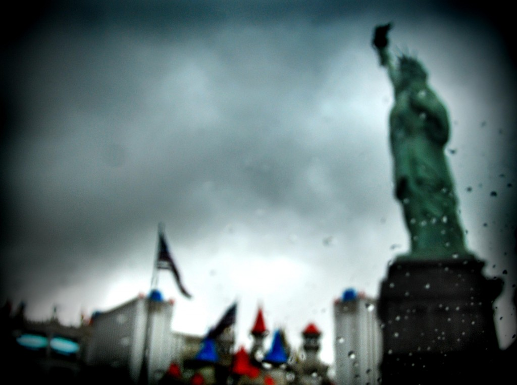 Rainy Day Las Vegas photos of the Statue of Libery at New York, New York Casino in Las Vegas, Nevada.