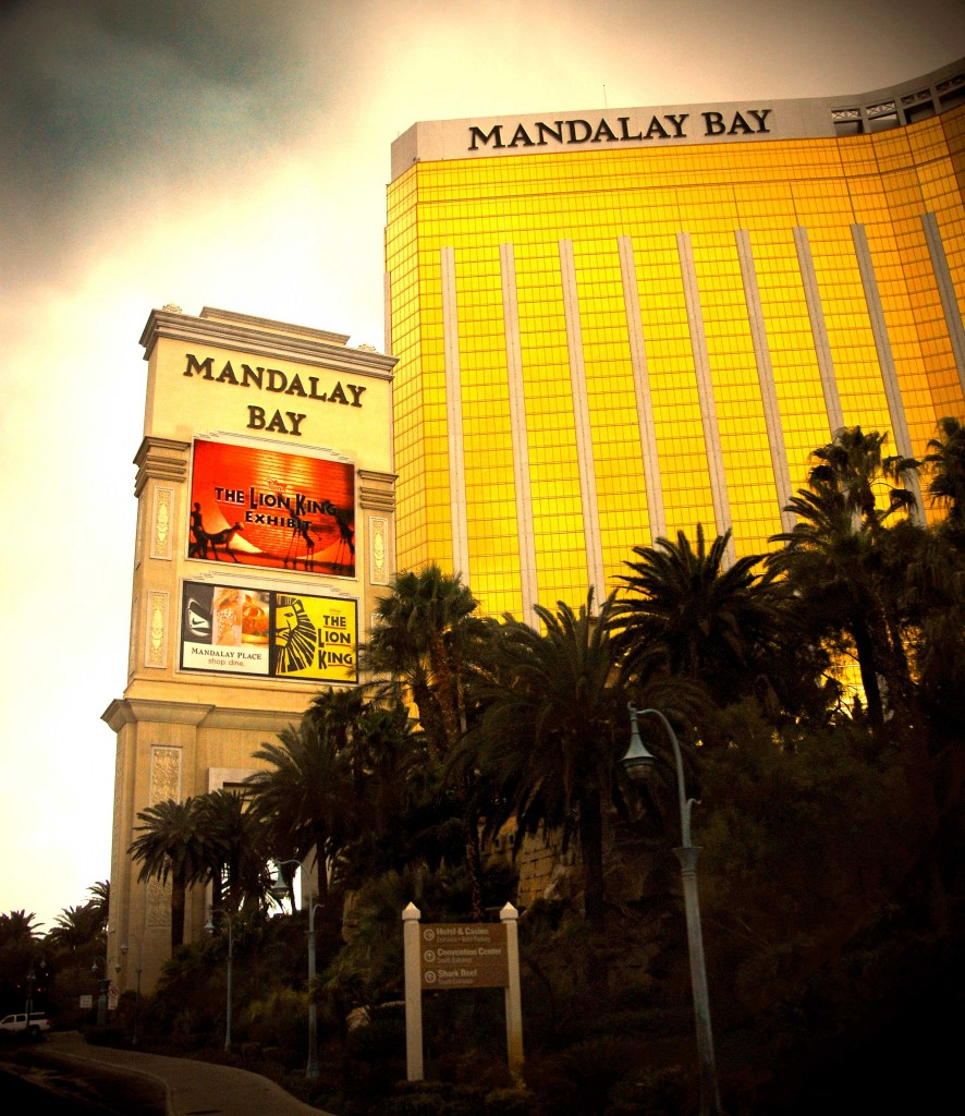 Rainy Day Las Vegas Mandalay Bay glowing bright.