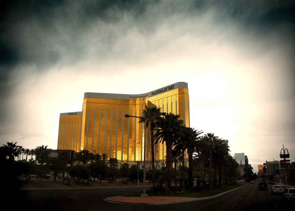 Rainy Day Las Vegas photo of the Mandalay Bay Hotel and Casino in Las Vegas, Nevada.
