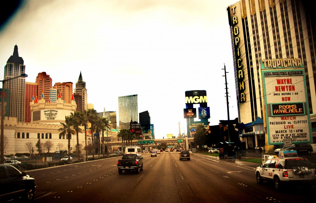 Rainy Day Las Vegas photo of the westend of the Las Vegas Strip in Nevada.