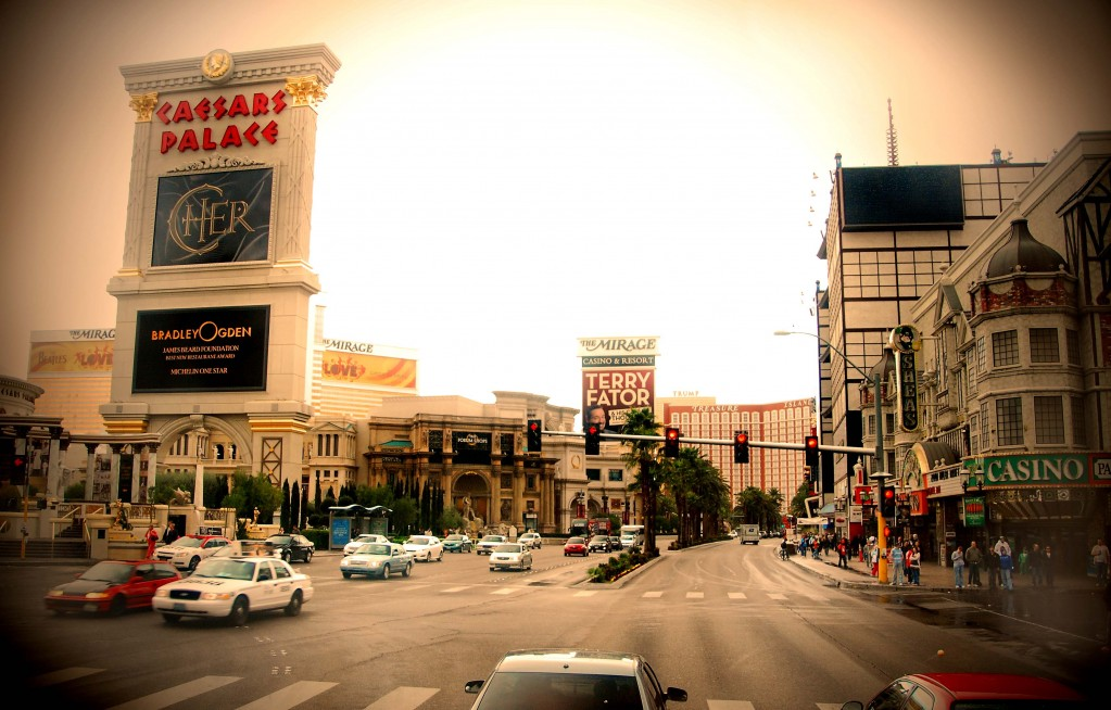 Rainy Day Las Vegas photo of  Caesars Palace on the Strip in Nevada.