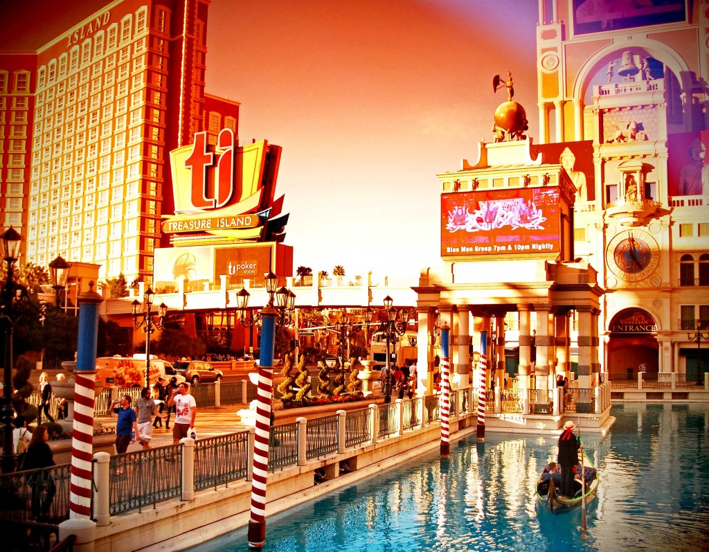 Las Vegas Strip photos featuring Treasure Island and the Venetian.