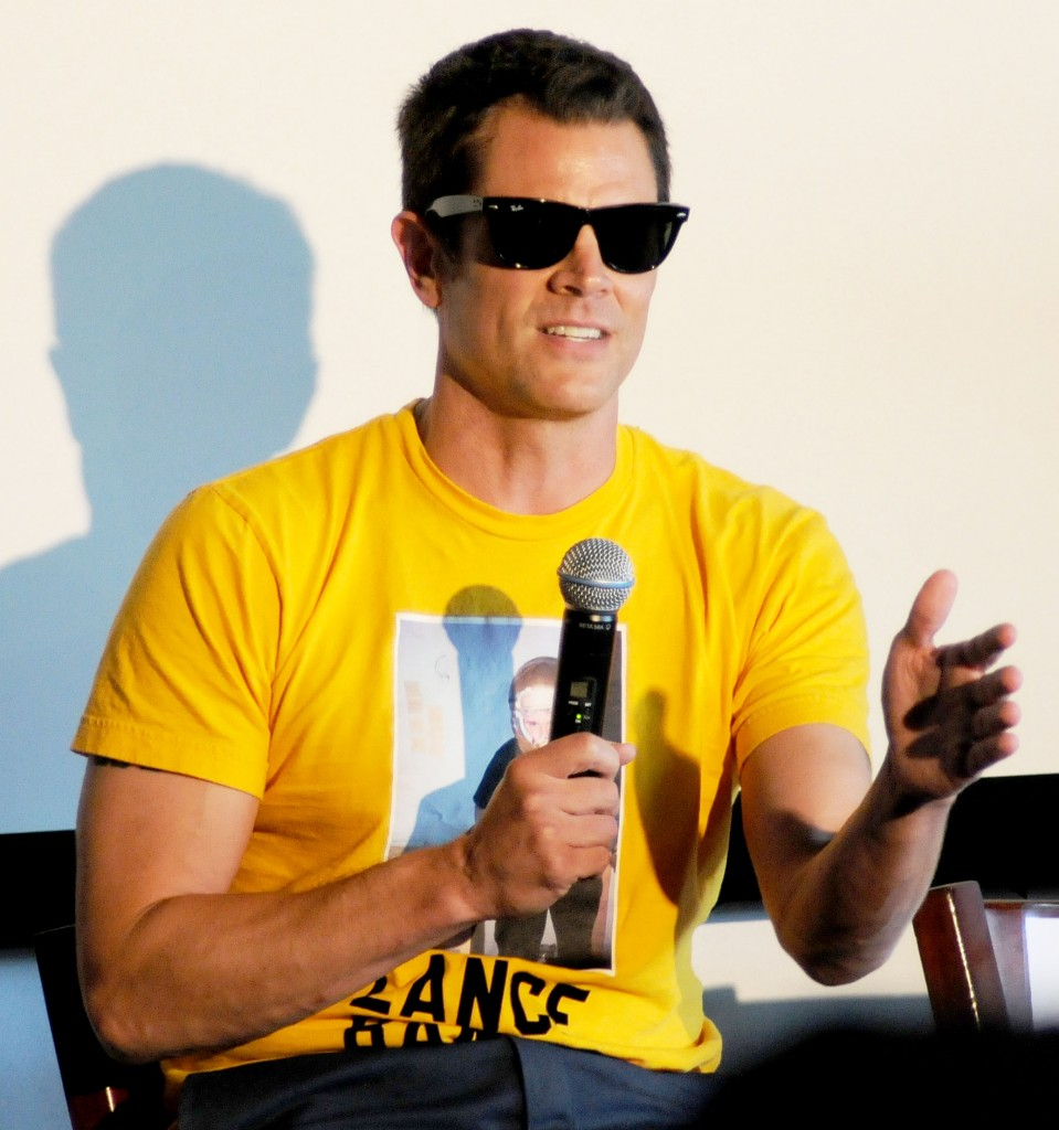 Johnny Knoxville speaking at X Games conference in Los Angeles, California.