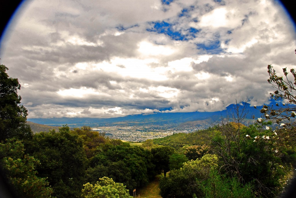 A panorama of the Oaxaca Valley from Mount Alban in Mexico.