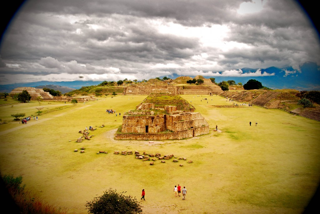 Several ancient ruins from Mount Alban in Oaxaca, Mexico.