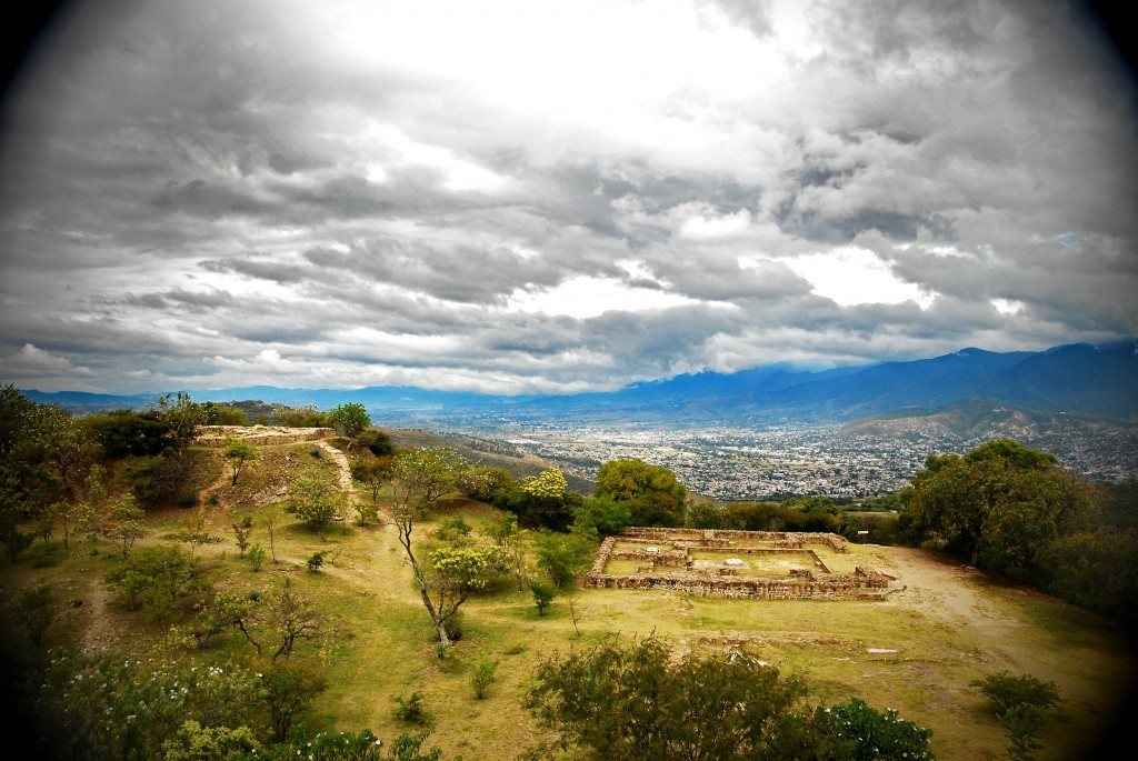 A panorama of Mount Alban and the Oaxaca Valley in Mexico.