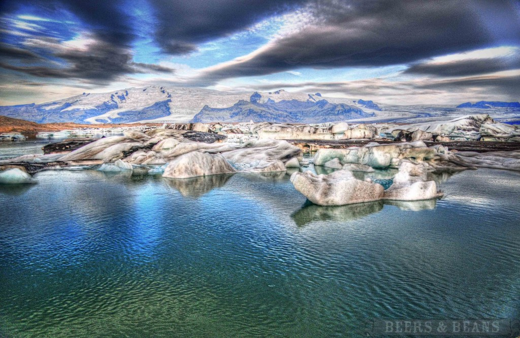 HDR Icebergs in Glacier Bay in Iceland.