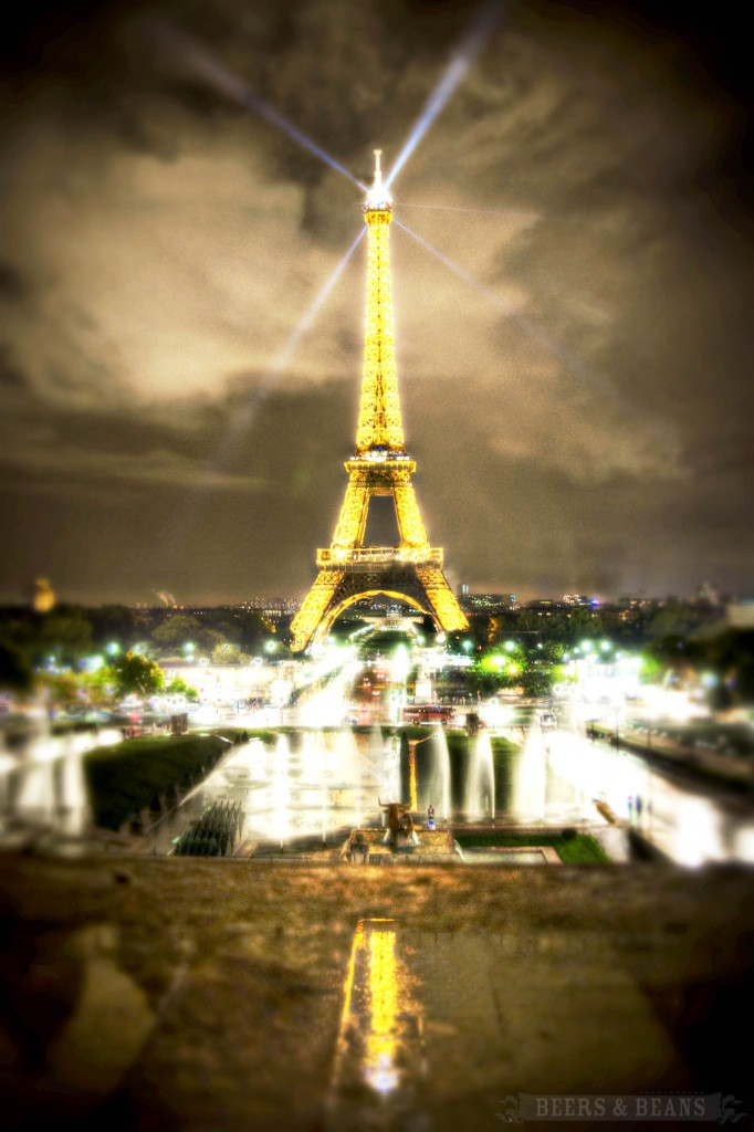 An HDR photo of the Eiffel Tower in Paris, France.