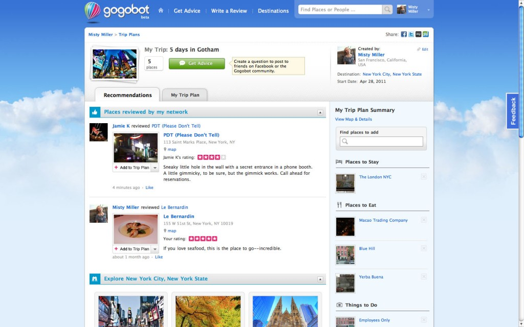 Gogobot screenshot of trip plan.