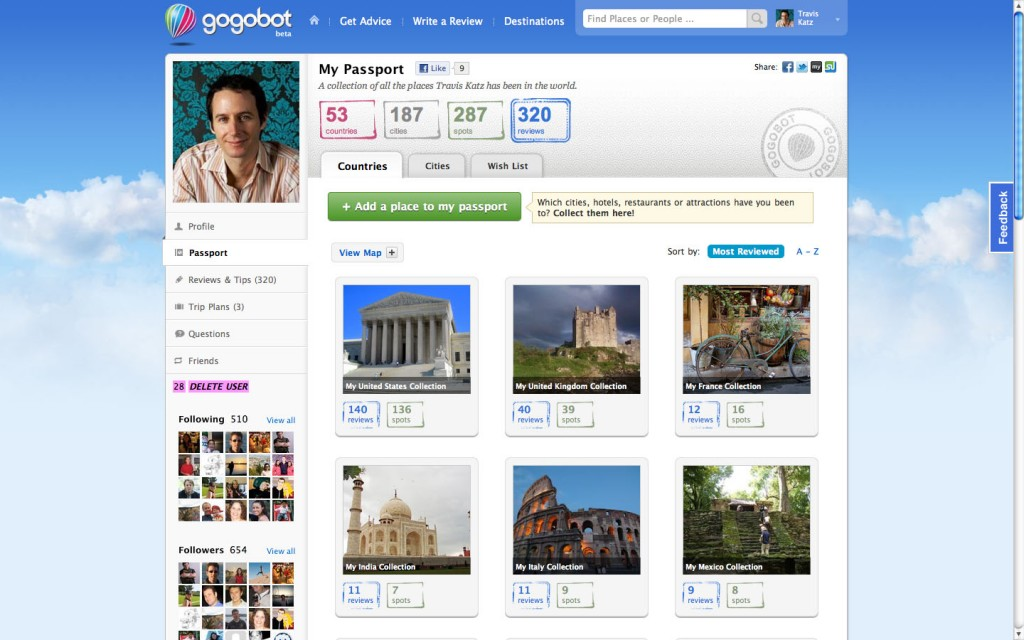 Gogobot website screenshot.