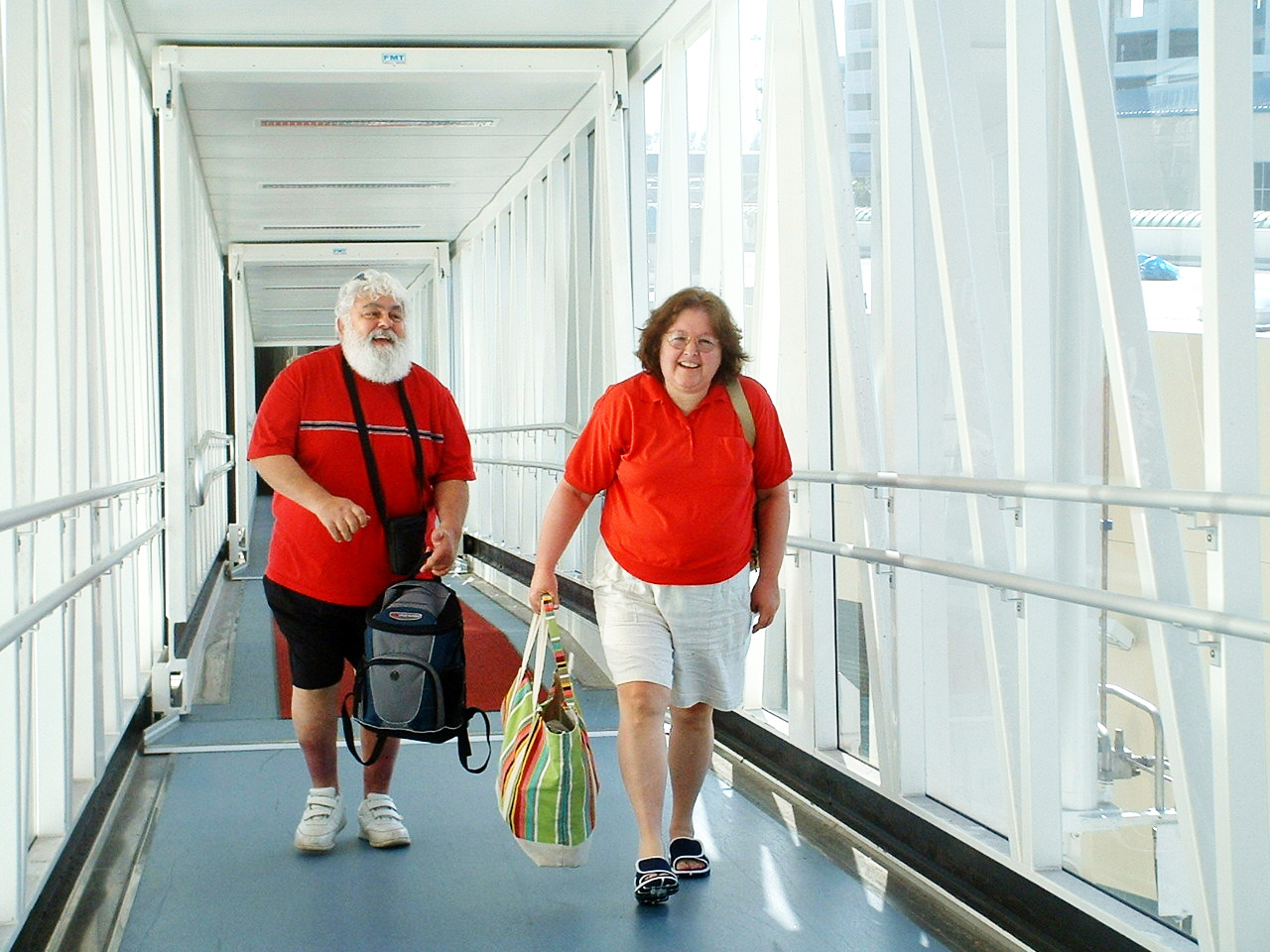 Bob and Mary Salvon arriving home from a family cruise.