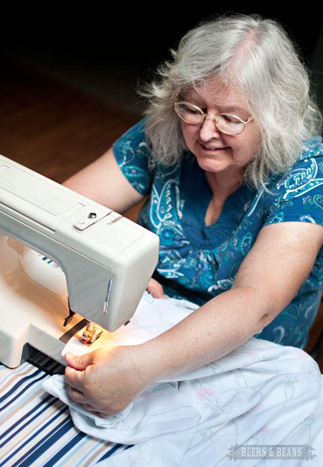 If you play your cards right you might be able to get your mom to sew it - like Beth's mom did for us. Actually at this point the sewing machine broke and Beth had to handstitch the rest of it.