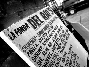 A restaurant sign in La Fonda, Mexico.