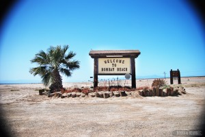 Bombay Beach sign in Salton Sea, California.