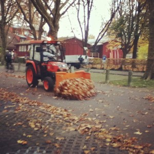 A bulldozer clearing the streets of Lucerne, Switzerland, of leaves.