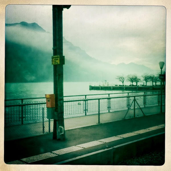 A train stop in the Swiss Alps.