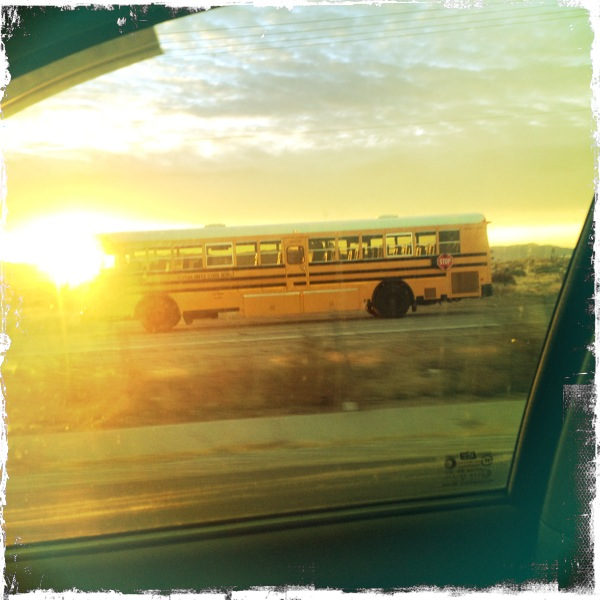 A California schoolbus in the SoCal high desert near Apple Valley.