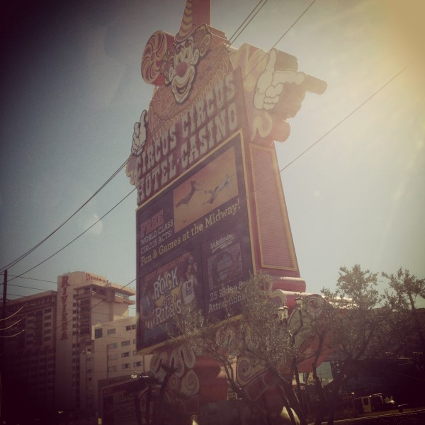 The vintage Circus Circus Casino sign in Las Vegas, Nevada.