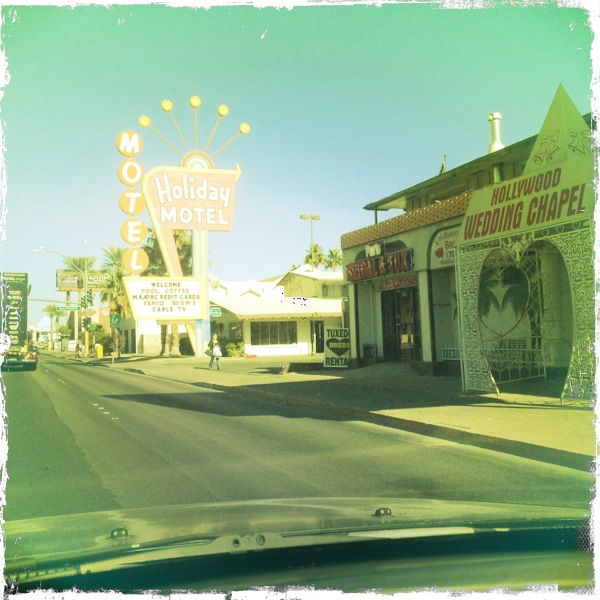 A vintage Las Vegas wedding chappel and motel in downtown near The Strip in Nevada.