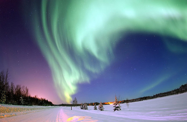 The colorful nothern lights in Alaska.