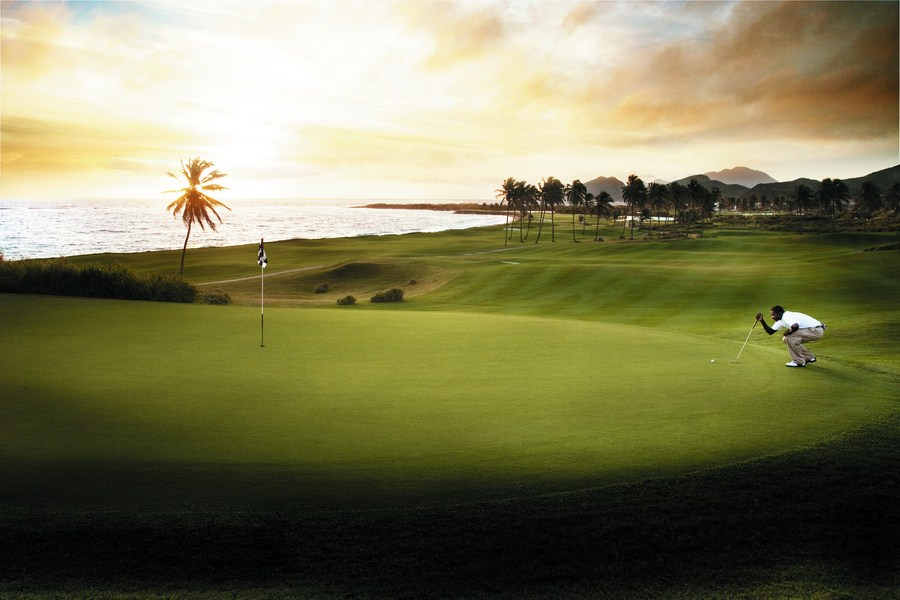 St. Kitts Marriott Resort and Golf Course at Sunset.