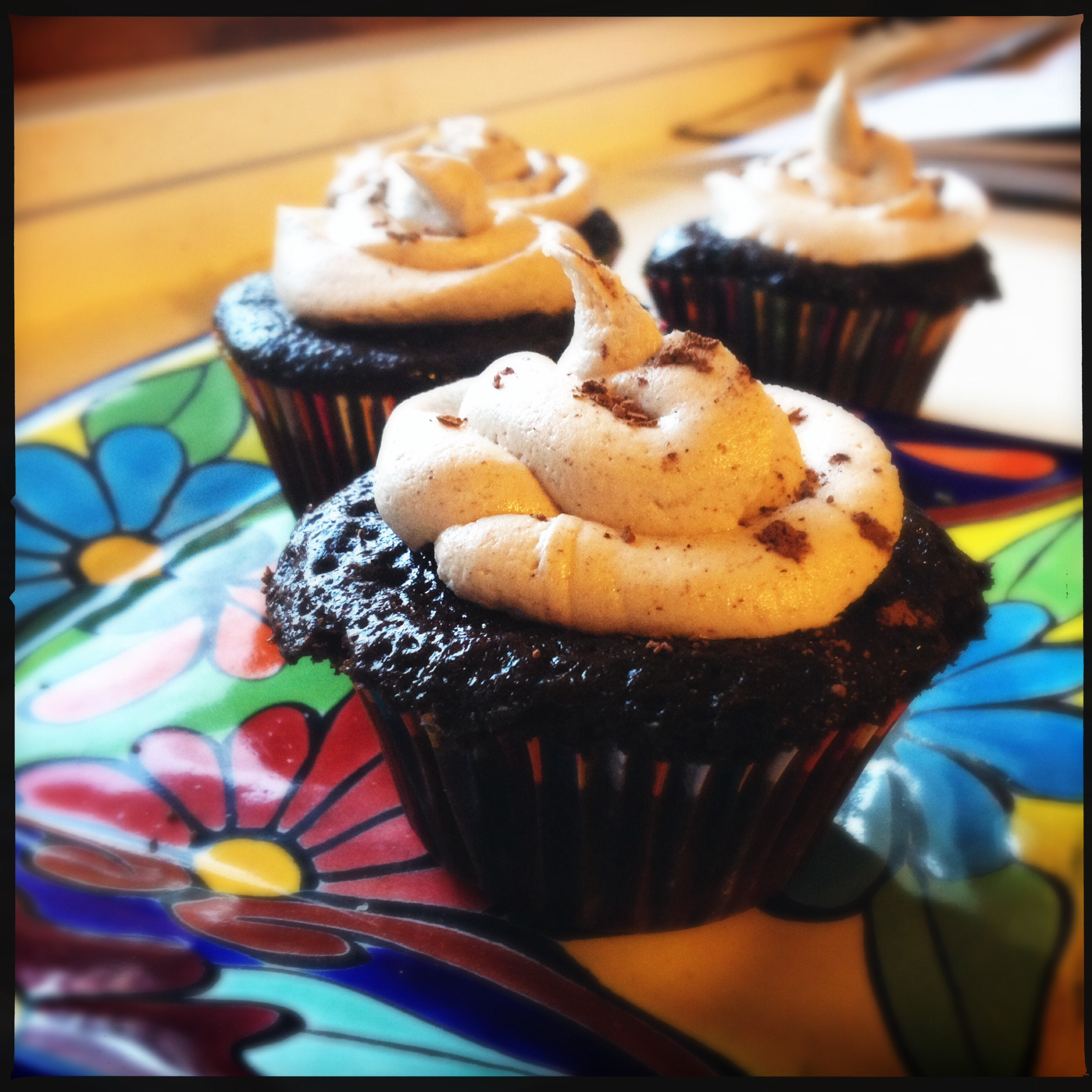 Three Mexican Hot Chocolate Cupcakes.