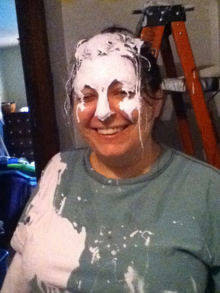 Another awesome day ~ The day I spilled an entire can of paint on my head! hahaha!!
