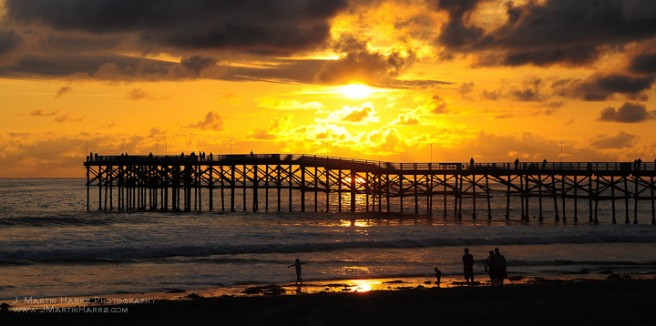 A sunset over Pacific Beach pier in San Diego, California.