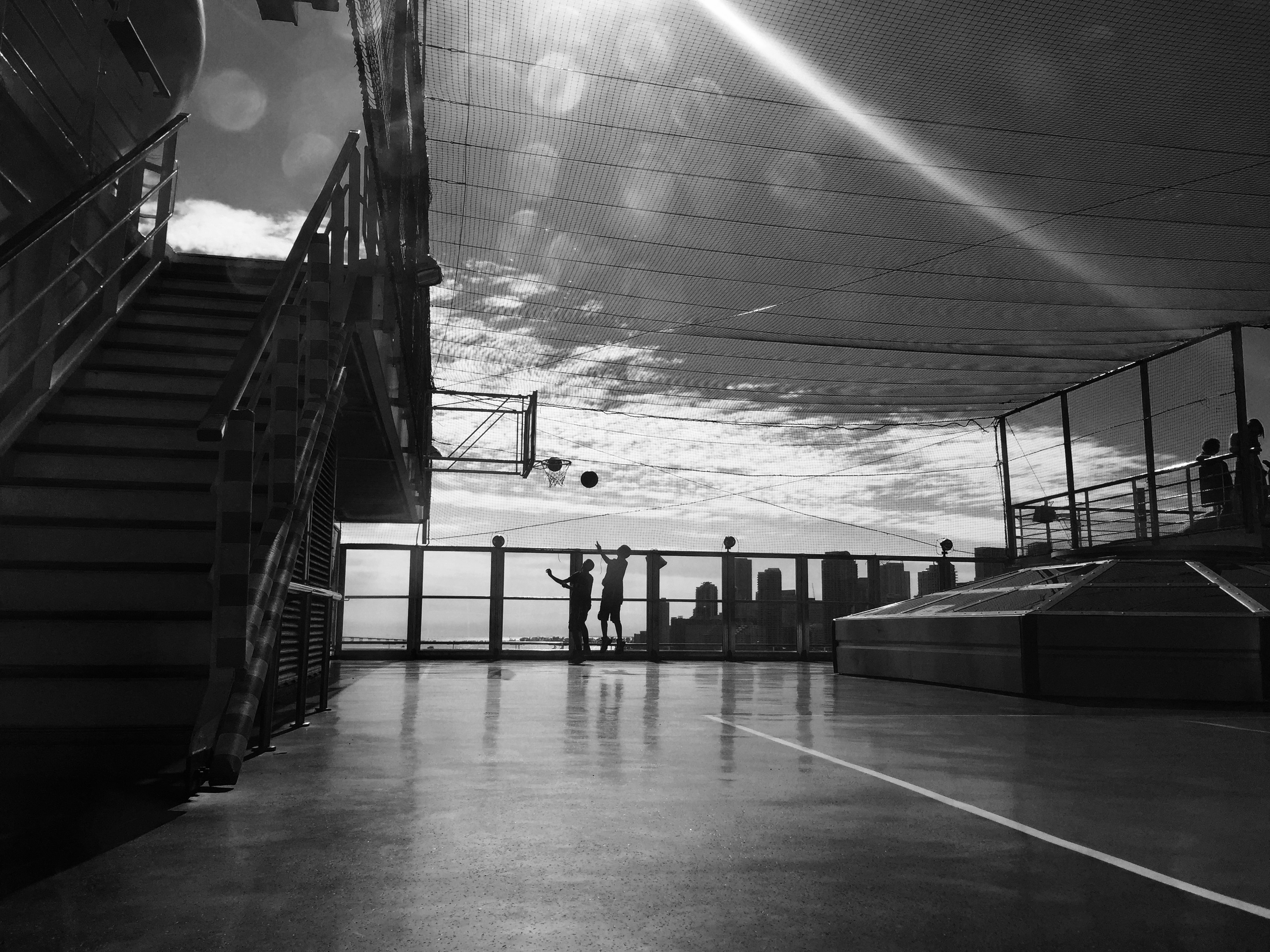The outdoor basketball court on the Carnival Glory.
