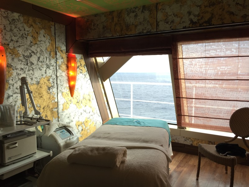A massage table at Cloud 9 Spa on the Carnival Dream.