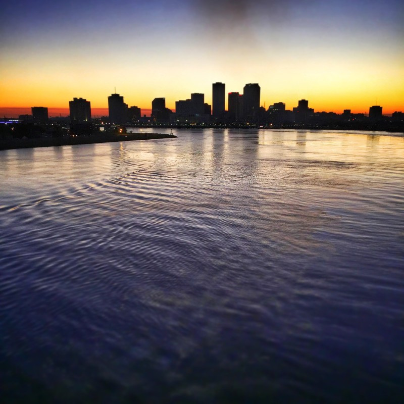 New Orleans skyline at sunset.
