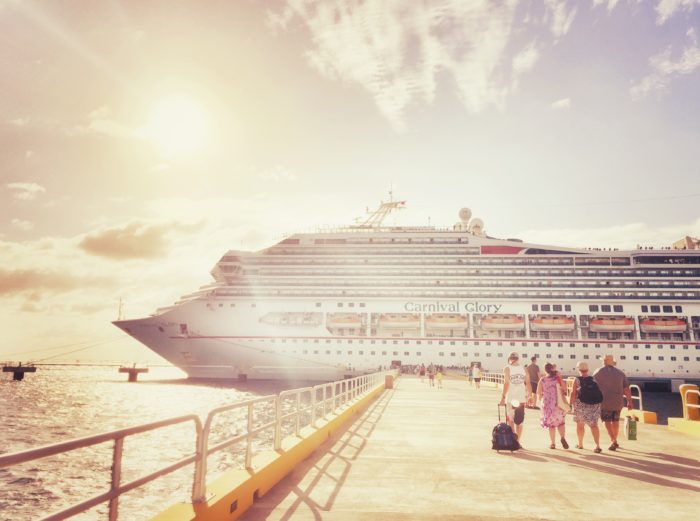 Sunset at the Carnival Glory in Port in Cozumel, Mexico.