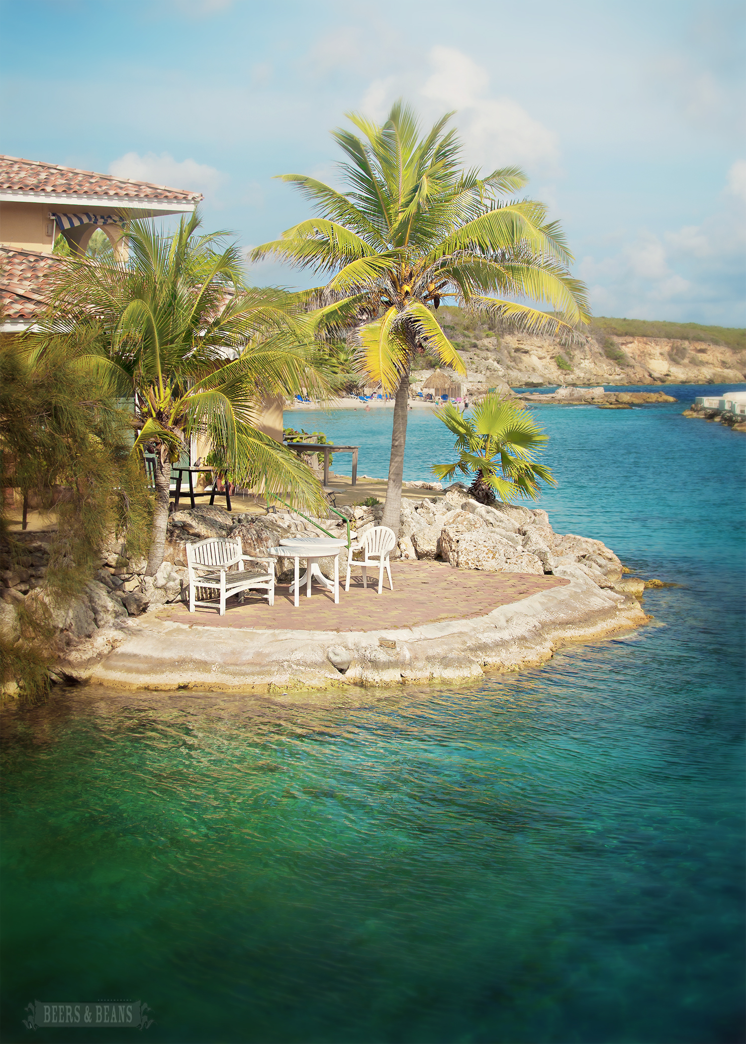 Beach front island patio in Dutch Curacao.