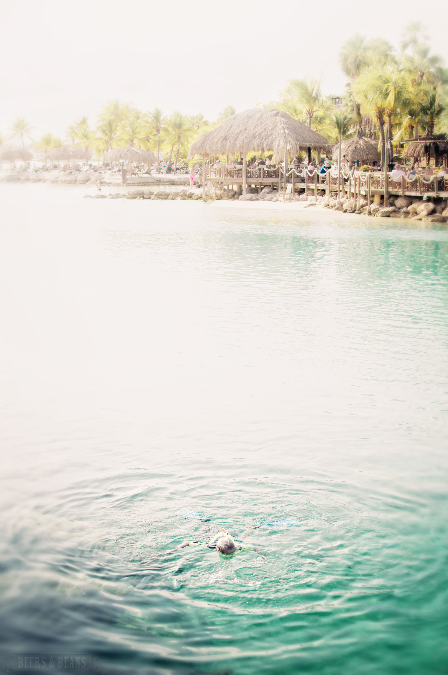 A man swimming in the warm blue waters of Curacao.
