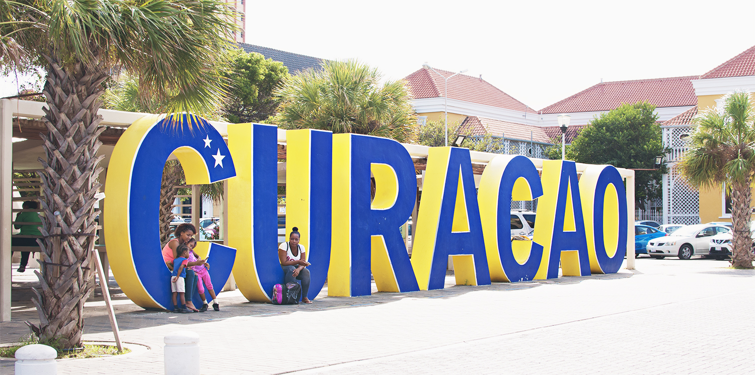 Colorful Curacao sign at the port in the dutch island of Curacao.