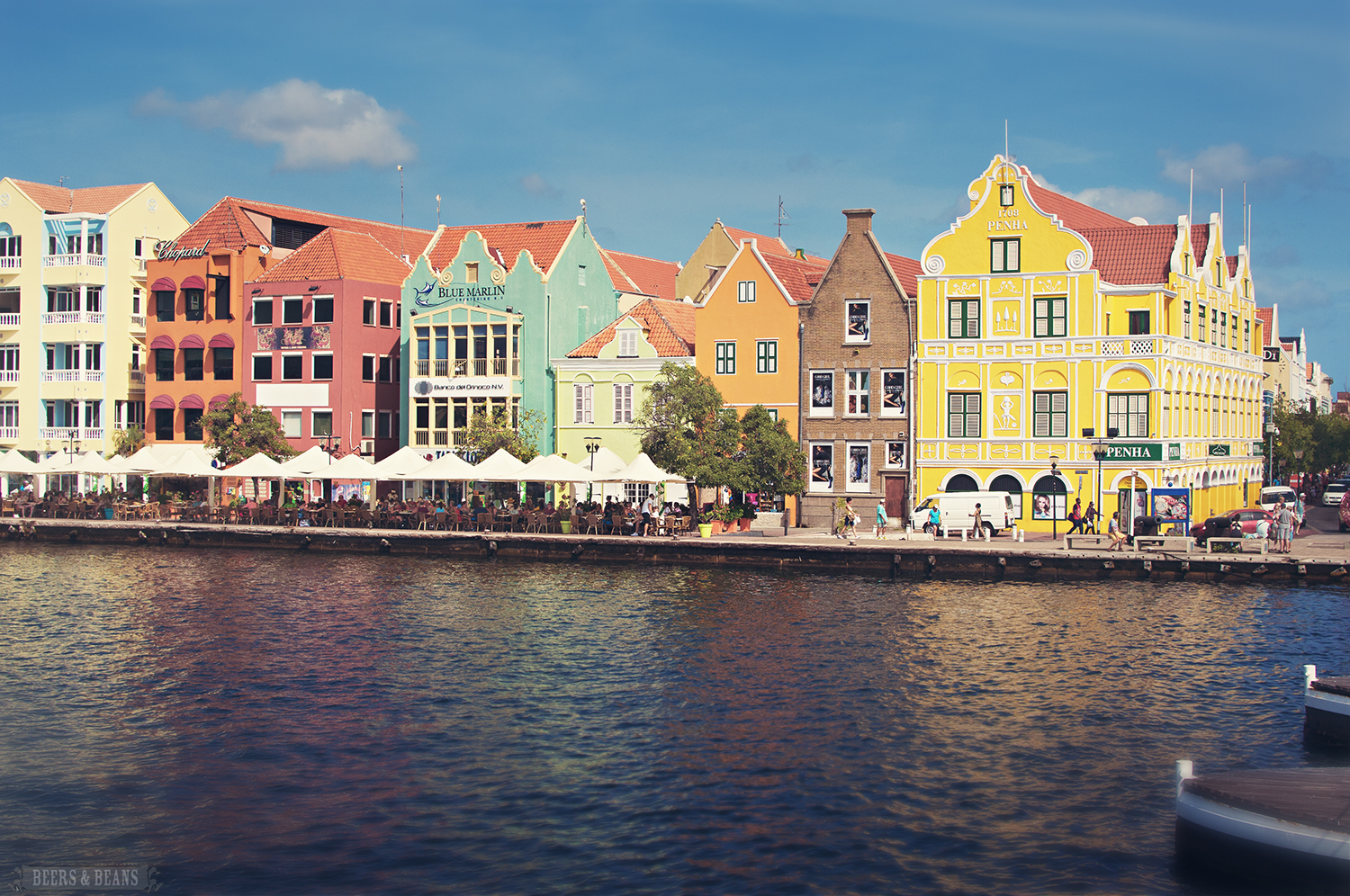 Colorful painted lady houses at the port of Curacao.