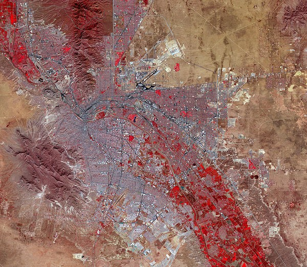 An aerial view of El Paso, Texas, and Juarez, Mexico.