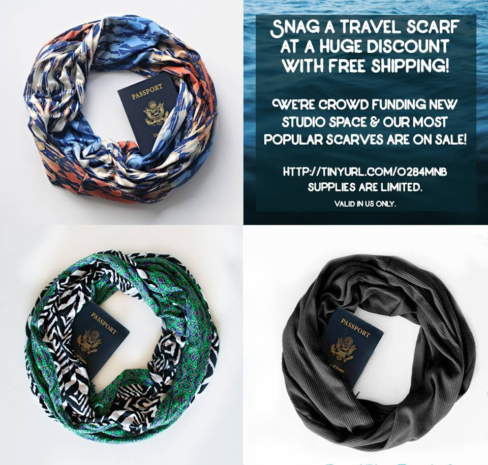 Three infinity scarves with hidden pockets from Speakeasy Travel Supply.