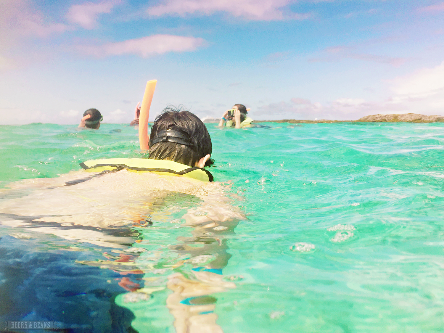 Randy Kalp, co-creator of the Speakeasy Travel Scarf, snorkeling in Grand Turk.