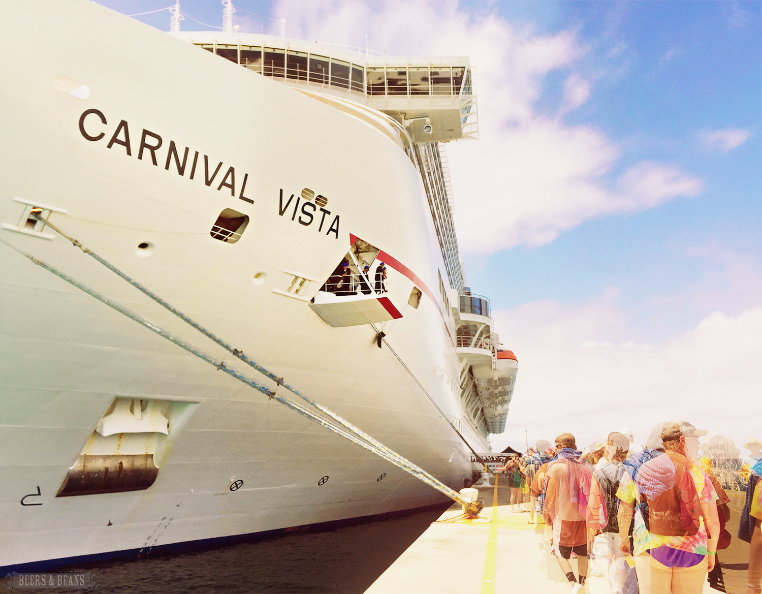 Cruise passengers boarding the Carnival Vista in Grand Turk.