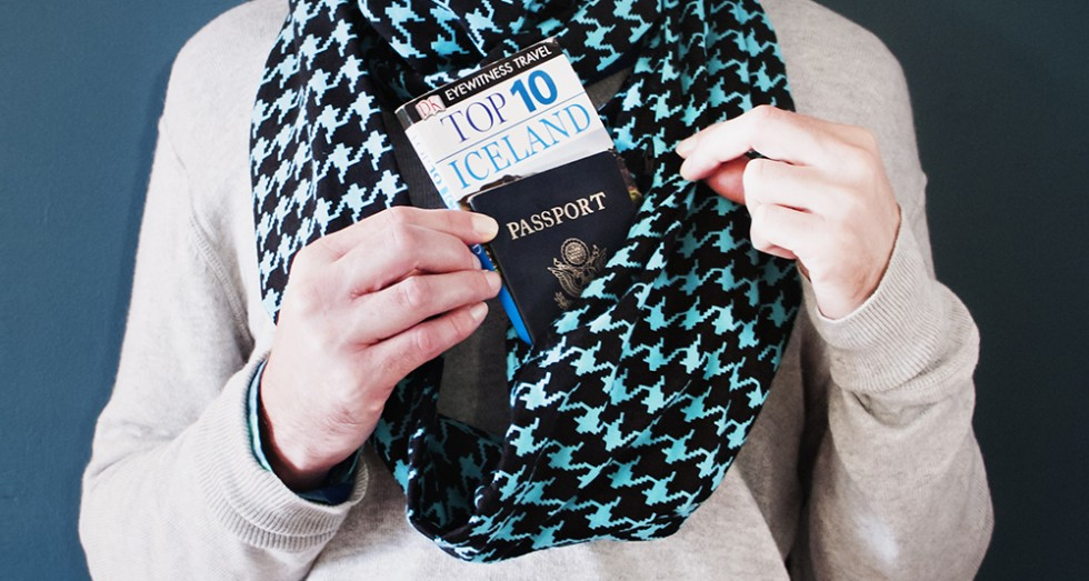 Beers and beans speakeasy travel scarves a hidden pocket scarf for your goods for Travel scarf
